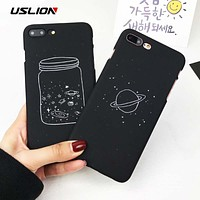 USLION Cute Cartoon Wishing Bottle Planet Moon Phone Case For iPhone 7 6 6s 8 Plus X Starry Sky Hard PC Cases Back Cover Capa
