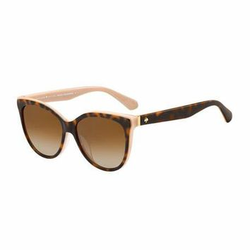 kate spade new york daeshas round polarized acetate sunglasses, brown/pink