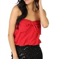 red chiffon strapless blouson bow front bodice black sequin bodycon skirt