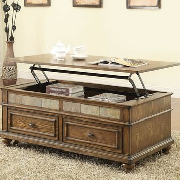 Eli collection oak finish wood and slate insert lift top coffee table with drawers