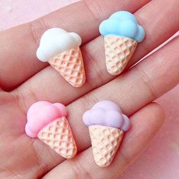 Ice Cream Cabochon (4pcs / Pink White Blue Purple / 21mm x 15mm) Kawaii Miniature Sweets Cabochon Decoden Phone Deco Scrapbooking FCAB128