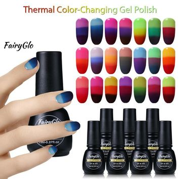 FairyGlo 7ML Thermal Color Changing UV Gel Nail Polish Paint Gellak Lucky Lacquer Soak Off Semi Permanent Stamping Gel Polish