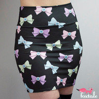 Pastel Eyebow Printed High Waisted Skirt in by FoxTaleDesigns
