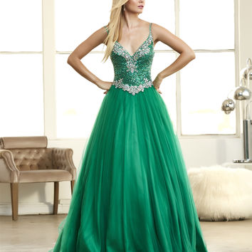 Mac Duggal 65080H Green Sequin Corset Top Ball Gown Prom Dress $350