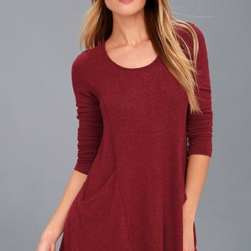 Pretty as a Picture Burgundy Long Sleeve Swing Dress