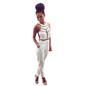 Lady Women Sexy Sleeveless Patchwork High Waist Tight Stretch Casual Slim Full Length Jumpsuit