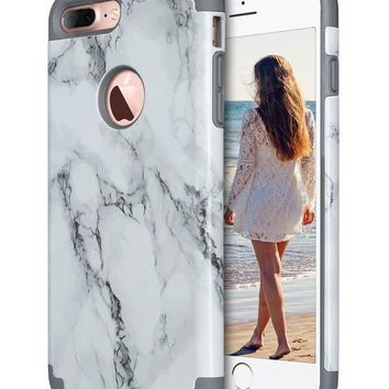 Iphone 7 Plus Case Marble Iphone 7 Plus Case Ulak Slim Heavy Duty Cases Dual Layer Shock Absorption Hybrid Tpu Rubber Bumper Hard Pc Protective Cover For Apple Iphone 7 Plus Marble Pattern