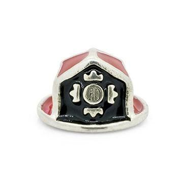 Everbling Red Enamel Fire Department Fireman Hat 925 Sterling Silver Bead Fits Pandora
