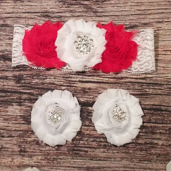 Red and White with Rhinestone Snowflake Lace Baby Girl Headband and Barefoot Sandal Set!