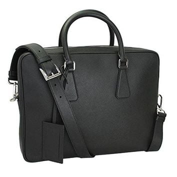 Prada briefcase attaché case laptop pc bag leather black