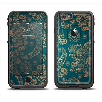 The Green & Gold Lace Pattern Apple iPhone 6 LifeProof Fre Case Skin Set