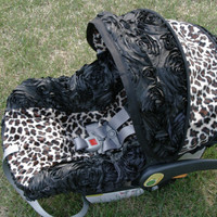 3d Rose Cheetah Minky Infant car seat cover- Custom order by Baby Seat Covers by Jill