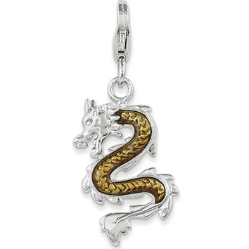 925 Sterling Silver Enameled Detailed Chinese Luck Dragon Dangle Charm
