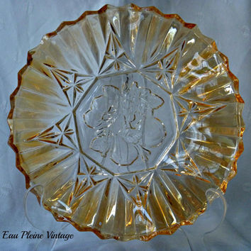 Federal Glass Co | Pioneer Pattern | Iridescent Amber Fluted Intaglio Fruit | Candy Dish