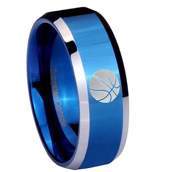 10mm Basketball Beveled Edges Blue 2 Tone Tungsten Carbide Engagement Ring