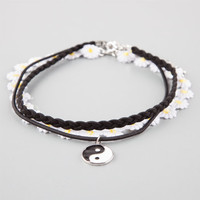 Full Tilt 3 Pack Yin Yang/Daisy/Braided Choker Necklaces Black One Size For Women 25931610001