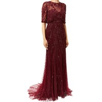Monique Lhuillier Embellished Tulle Gown in Burgundy | Harrods