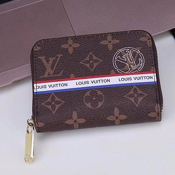 LV Fashion square pull wallet B-LLBPFSH Women Men Wallet LV Coffee Print B-LLBPFSH