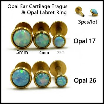 SHUIMEI 3pcs 316l Surgical Steel Opal Ear Cartilage Tragus Piercing,Opal Labret Stud Ring Lip Piercing Body Jewelry Sexy Girls