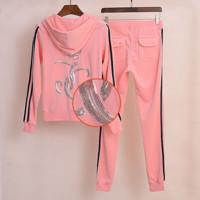 """Juicy  couture""Spring velvet suit female clothes sequins feet pants Pink"