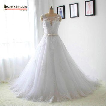 2017 New Model Crystal Belt Lace Appliques Wedding Dresses Real Photos