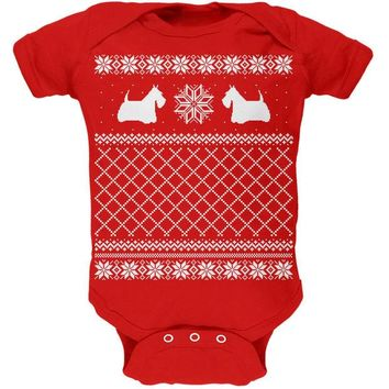 DCCKJY1 Scottish Terrier Ugly Christmas Sweater Red Baby One Piece