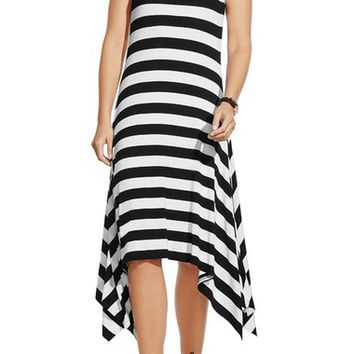 Vince Camuto Stripe Handkerchief Hem Midi Dress (Regular & Petite) | Nordstrom