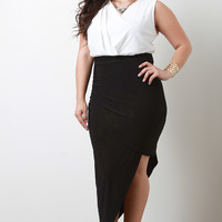 Plus Size Twofer Draped Dress