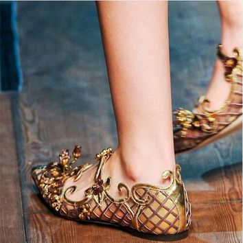 2017 Shoes Woman Loafers Luxury Brand Real Leather Pointed Toe Buckles Soft Leather Women Shoes Flats Sandals Party Shoes Woman