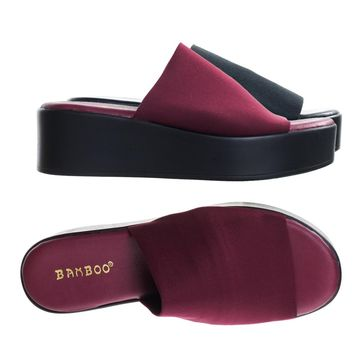 Bonus02 Burgundy by Bamboo, Platform / Flatform Slide Slipper Sandal Mule Slinky Elastic Single Band