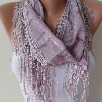 Lilac Shawl and Scarf with Trim Edge...