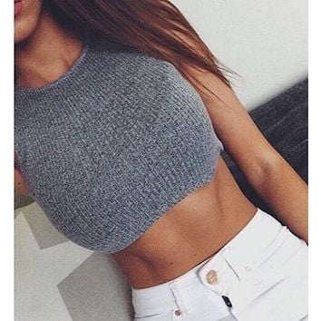 Sexy drape loosely knit short paragraph TOP
