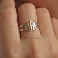 Monogram Name Ring - Personalized Name Ring - Unique Mother's Day Gift For Mom / Wife  - Sterling Silver / 18K Gold Plated