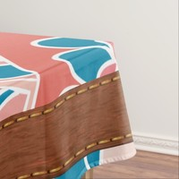 Spring Peach and Teal, Retro Tablecloth