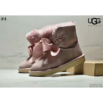 UGG 2018 new ribbon bow short tube women's shoes snow boots #4