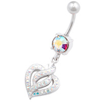 Signature Design Heart Dangle Aurora Borealis Crystal Belly Button Ring For Girls [Gauge: 14G - 1.6mm / Length: 10mm] 316L Surgical Steel & Crystal