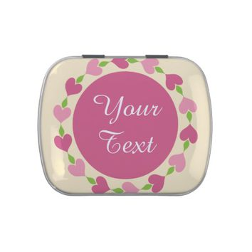 Romantic Pink Heart Wreath Candy Tin