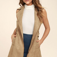 Geneva Light Brown Suede Belted Vest