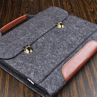 Surface pro 3, Felt laptop cover case,  Surface pro 2 case, Surface pro 3 sleeve,Surface pro 3 bag, man's laptop case, leather messenger bag