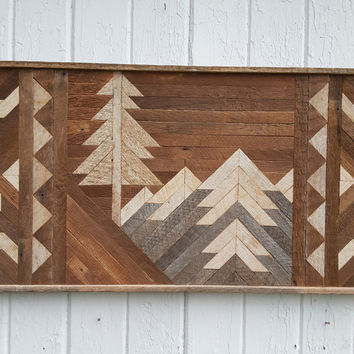 Reclaimed Wood Wall Art - Decor - Mountains - Twin Headboard - Bedroom Decor - Rustic Art - Southwest Art - Mosaic Art