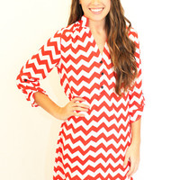 Chevron Tunic Dress - Red and White
