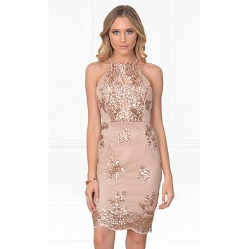 Indie XO Made To Shine Beige Gold Sequin Halter Cut Out Bodycon Mini Dress