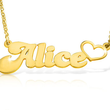 Love Name Necklace Gold Plated Name Pendant Nameplate Necklace Gold Gift For Love Name Customized Gold Name Tag Birthday Gifts Jewelry