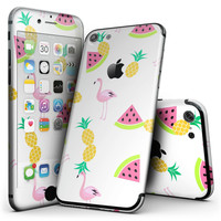 Animated Flamingos and Fruit - 4-Piece Skin Kit for the iPhone 7 or 7 Plus