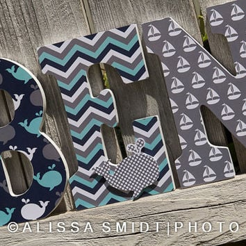 Custom Nursery Wooden Letters, Baby Boy Nursery, Baby Girl Nursery- Nautical Theme Custom Letters whale boat anchor navy grey teal mint aqua