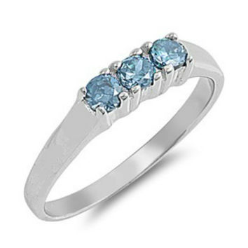 Sterling Silver Baby Blue Topaz CZ Three Stone Ring Size 1-4