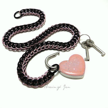 Chainmail Slave Collar Pink & Black with Sparkly Pink Heart Shaped Padlock