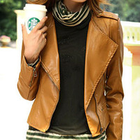 Brown Flip Collar Zip Faux Leather Jacket