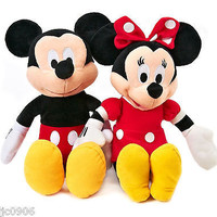 "DISNEY 17"" MICKEY MOUSE & MINNIE MOUSE RED COMBO PLUSH TOY-LICENSED STUFFED TOY"