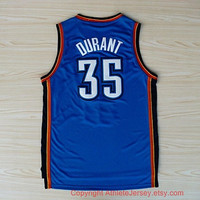 Kevin Durant Oklahoma City Thunder 35 Revolution NBA Jersey Super Rare Blue Sports Basketball Jersey All Stitched and Sewn Any Size S - XXL